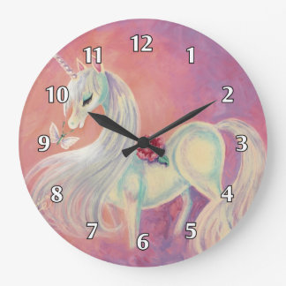 Unicorn In Blush Of Dawn Large Clock
