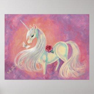 Unicorn In Blush Of Dawn print