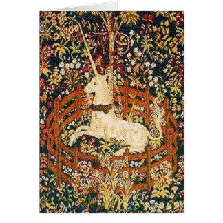 Unicorn in captivity greeting card