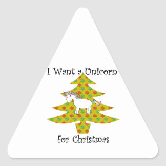 Unicorn in Christmas tree on gold Triangle Sticker