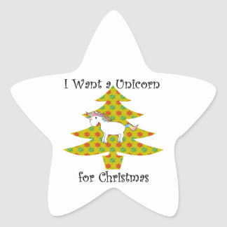 Unicorn in Christmas tree on gold Star Sticker