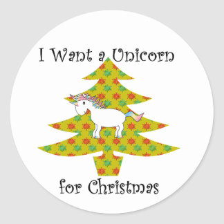 Unicorn in Christmas tree on gold Classic Round Sticker