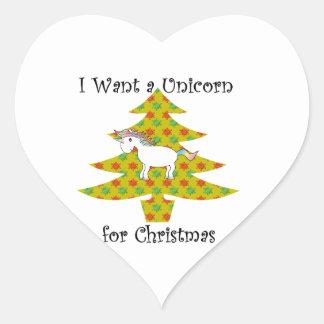 Unicorn in Christmas tree on gold Heart Sticker