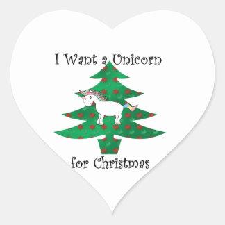 Unicorn in Christmas tree on green Heart Sticker