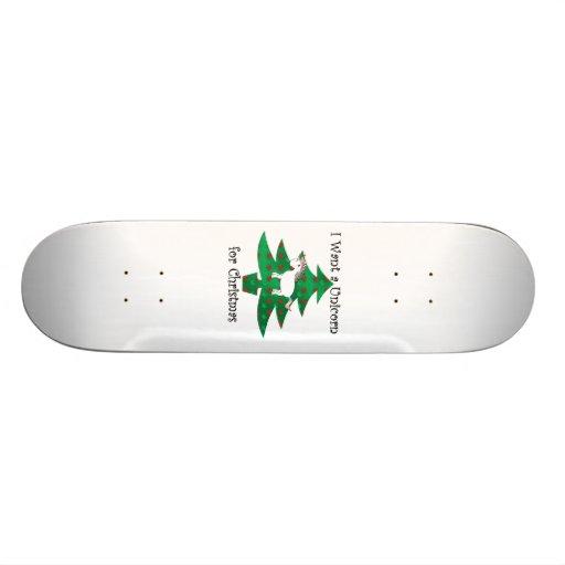 Unicorn in Christmas tree on green Skate Board