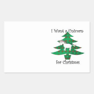Unicorn in Christmas tree on green Rectangular Sticker