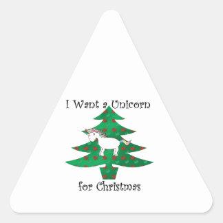 Unicorn in Christmas tree on green Triangle Sticker