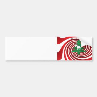 Unicorn in Christmas tree on red swirls Car Bumper Sticker
