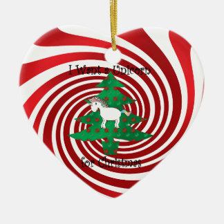 Unicorn in Christmas tree on red swirls Ceramic Ornament