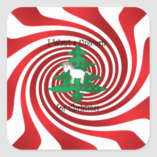 Unicorn in Christmas tree on red swirls Square Sticker