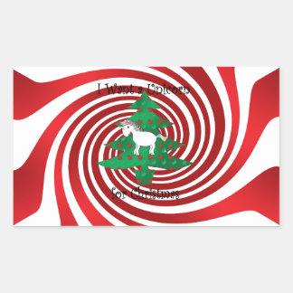 Unicorn in Christmas tree on red swirls Rectangular Sticker