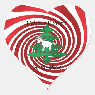Unicorn in Christmas tree on red swirls Heart Sticker