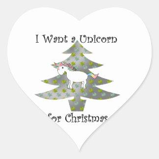 Unicorn in Christmas tree on silver Heart Sticker