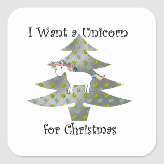 Unicorn in Christmas tree on silver Square Sticker