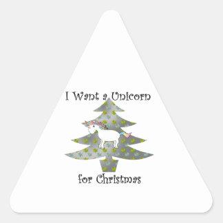 Unicorn in Christmas tree on silver Triangle Sticker