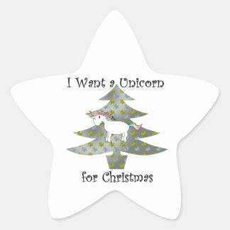 Unicorn in Christmas tree on silver Star Sticker