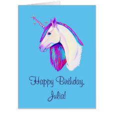 Unicorn in Colors Happy Birthday Name Customizable Card