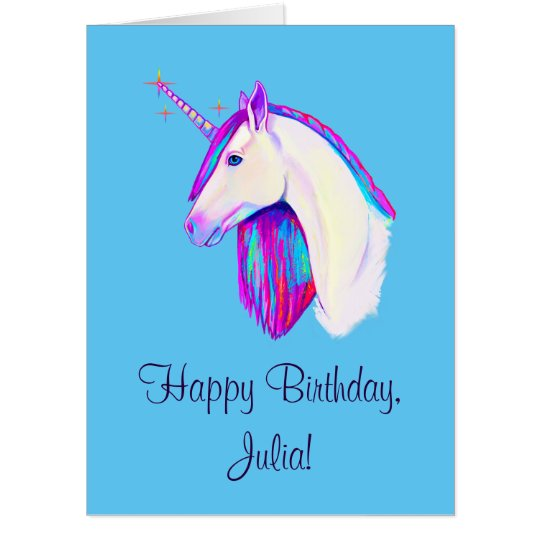 Unicorn In Colors Happy Birthday Name Customizable Card