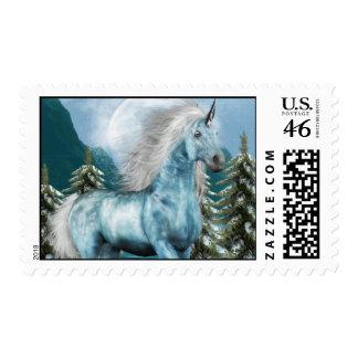 Unicorn in Moonlight  Postage Stamp