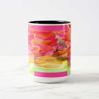 Unicorn in Painted Desert Two-Tone Coffee Mug