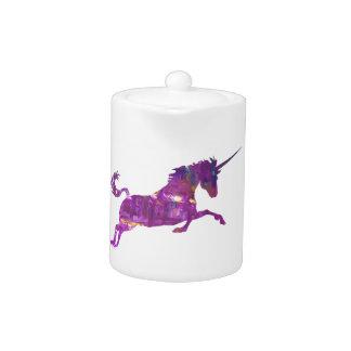Unicorn in purple teapot