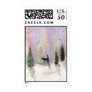 Unicorn in Snow Postage Stamps