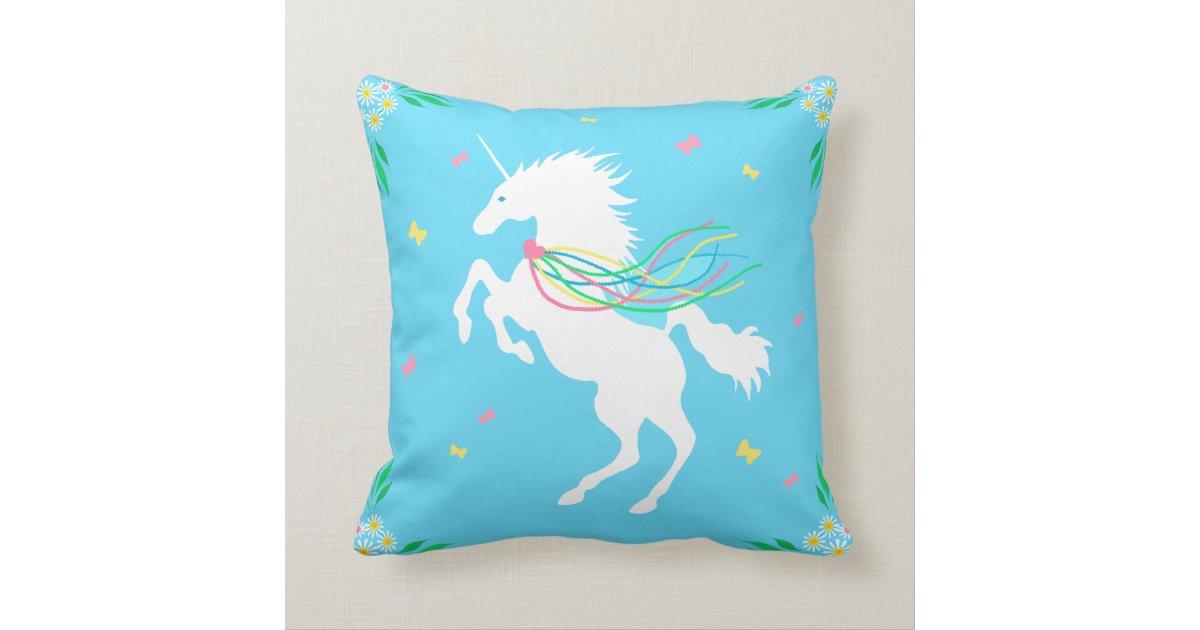 Unicorn in Spring Throw Pillow Zazzle