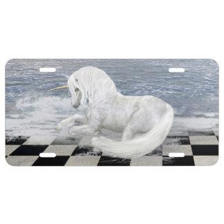 Unicorn in Surreal Seascape License Plate