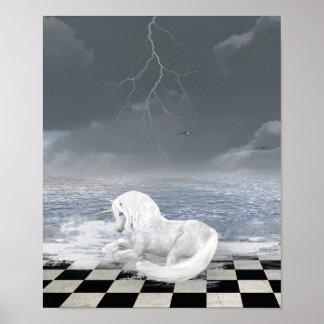 Unicorn in Surreal Seascape Poster