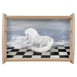 Unicorn in Surreal Seascape Serving Tray