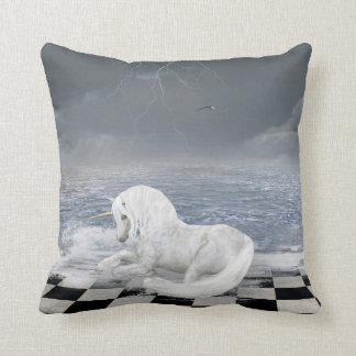 Unicorn in Surreal Seascape Throw Pillow