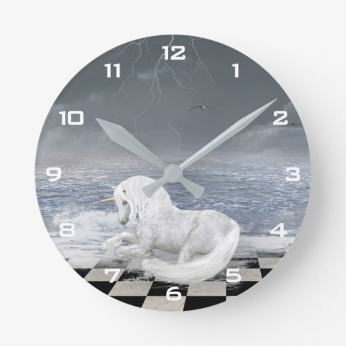 Unicorn in Surreal Seascape Wall Clock