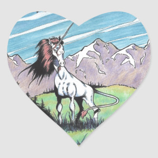 Unicorn in the glade heart sticker