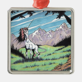 Unicorn in the glade christmas ornament