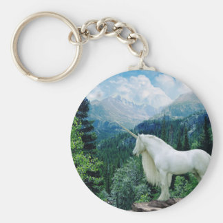 Unicorn In The Mountains Basic Round Button Keychain