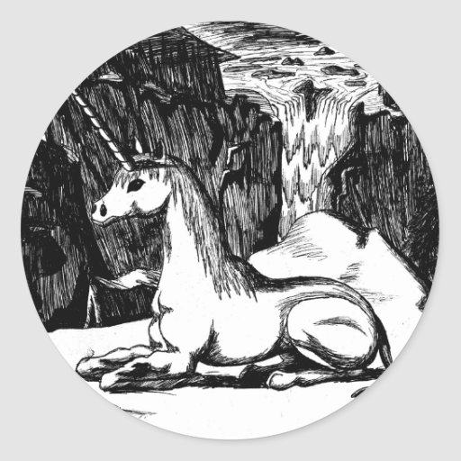 """""""Unicorn in the Mountains"""" Classic Round Sticker"""