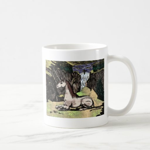 """""""Unicorn in the Mountains"""" colorized Coffee Mugs"""