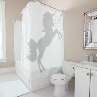 Unicorn In the Shower Fun Shadow Silhouette Shower Curtain