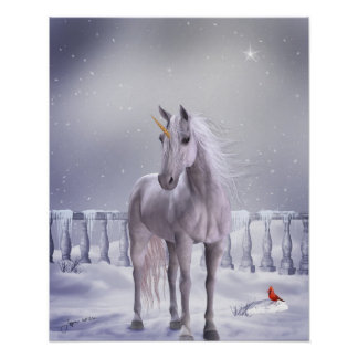 Unicorn in the Snow Poster Print