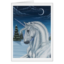 Unicorn in Winter Peace Card