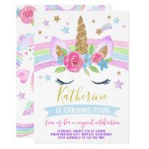 Unicorn invitation birthday party rainbow unicorn