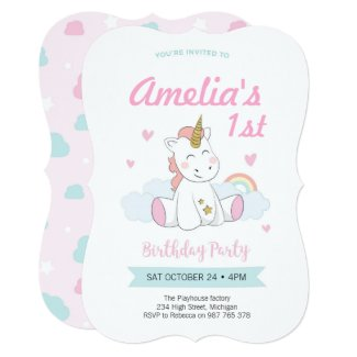 Unicorn invitations, Unicorn birthday invitations