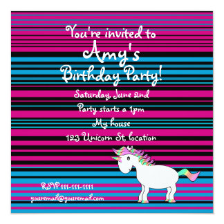 Unicorn invite dark pink black and blue stripes