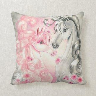 Unicorn Kiss Throw Pillows