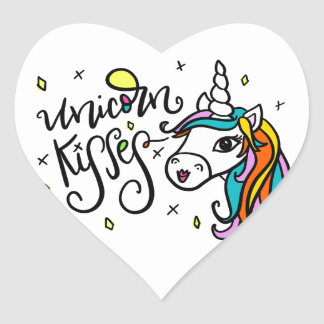 Unicorn Kisses, hand-drawn Heart Sticker