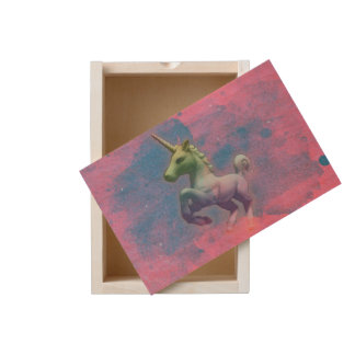 Unicorn Large Wood Keepsake Box (Cupcake Pink)
