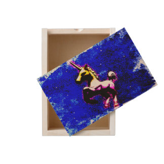 Unicorn Large Wood Keepsake Box (Punk Cupcake)