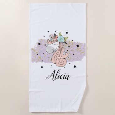 Beach Themed Unicorn Lilac Watercolor Beach Towel
