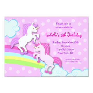 Unicorn Little Pony Birthday Party Invitations