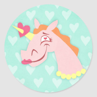 Unicorn Love At First Sight Classic Round Sticker